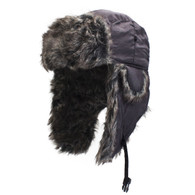 Zan Trooper Hat in Black with Grey Fur