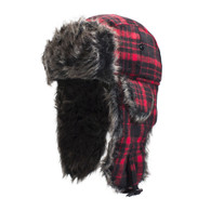 Zan Trooper Hat in Red Buffalo Plaid with Grey Fur