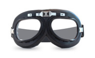 Aviator Goggles - Black/Chrome Trim - Clear Lens