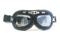 Aviator Goggles - Black/Chrome Trim - Smoke Lens