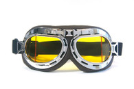 Aviator Goggles - Chocolate/Chrome - Amber Angled Lens