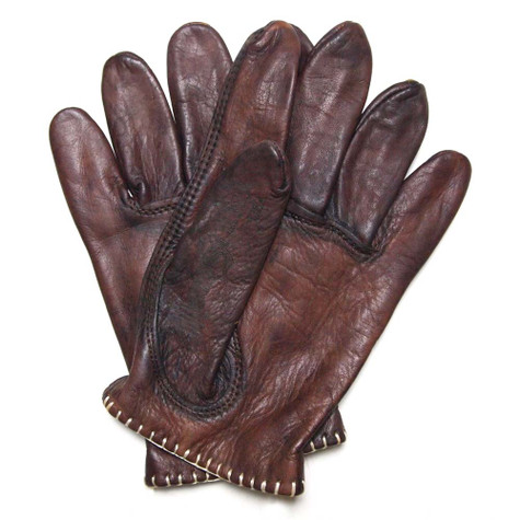 MotoStuka Shanks Leather Gloves in Oak - Palm