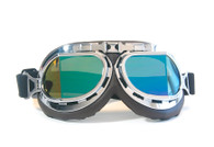 Aviator Goggles - Chocolate/Chrome - Iridescent Angled Lens