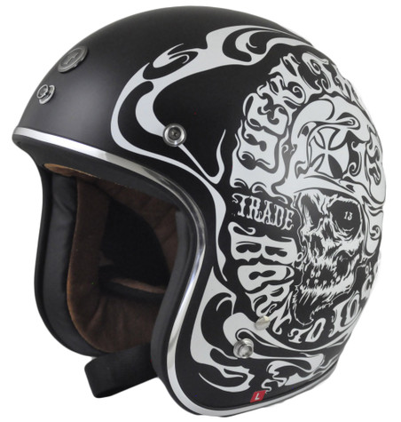 Torc DOT 3/4 Motorcycle Helmet with Smoke Skull Finish
