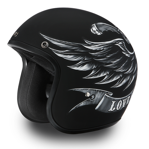 """Daytona Cruiser 3/4 Open Face DOT Motorcycle Helmet with """"Love it/Leave It"""" artwork - Overview"""