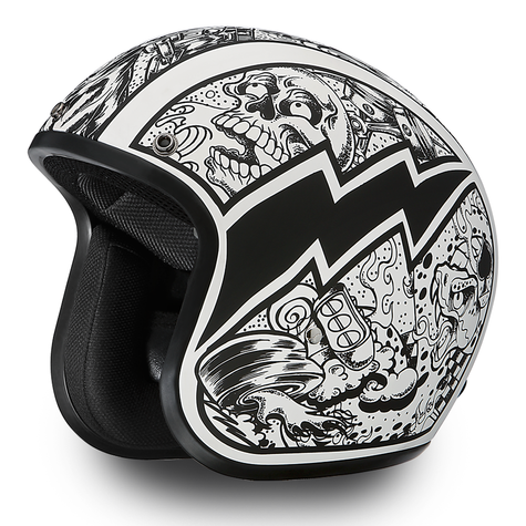 "Daytona Cruiser 3/4 Open Face DOT Motorcycle Helmet with ""Graffiti"" artwork - Overview"
