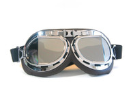 Aviator Goggles - Chocolate/Chrome - Mirrored Angled Lens