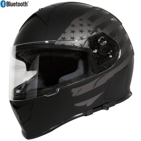 Torc T-14 Full Face Helmet with Blinc Bluetooth in Flat Black with Flat Grey US Flag Graphic - Overview