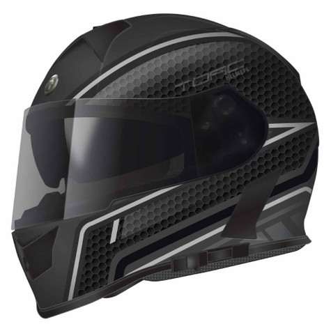 Torc T-14 DOT-Approved Full Face Motorcycle Helmet with Scramble Accent Graphics in Grey