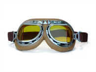 RBG Aviator Goggles in Tan with Chrome trim and Amber Angled Lens