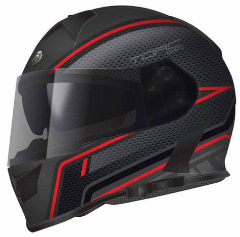 Torc T-14 DOT-Approved Full Face Motorcycle Helmet with Scramble Accent Graphics in Red - Overview