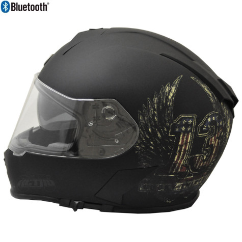 Torc T-14 Full Face Helmet with Blinc Bluetooth in Flat Black with Wings Graphic - Overview