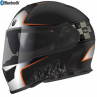 Torc T-14 Full Face Helmet with Blinc Bluetooth in Black with Orange Champion Graphic - Overview
