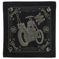 Biltwell Mandana Bandana with Chopper Print in Black/Tan