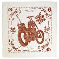 Biltwell Mandana Bandana with Chopper Print in Cream/Rust