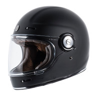 Torc T-1 Retro Full Face Moto Helmet in Matte Black - Left Side