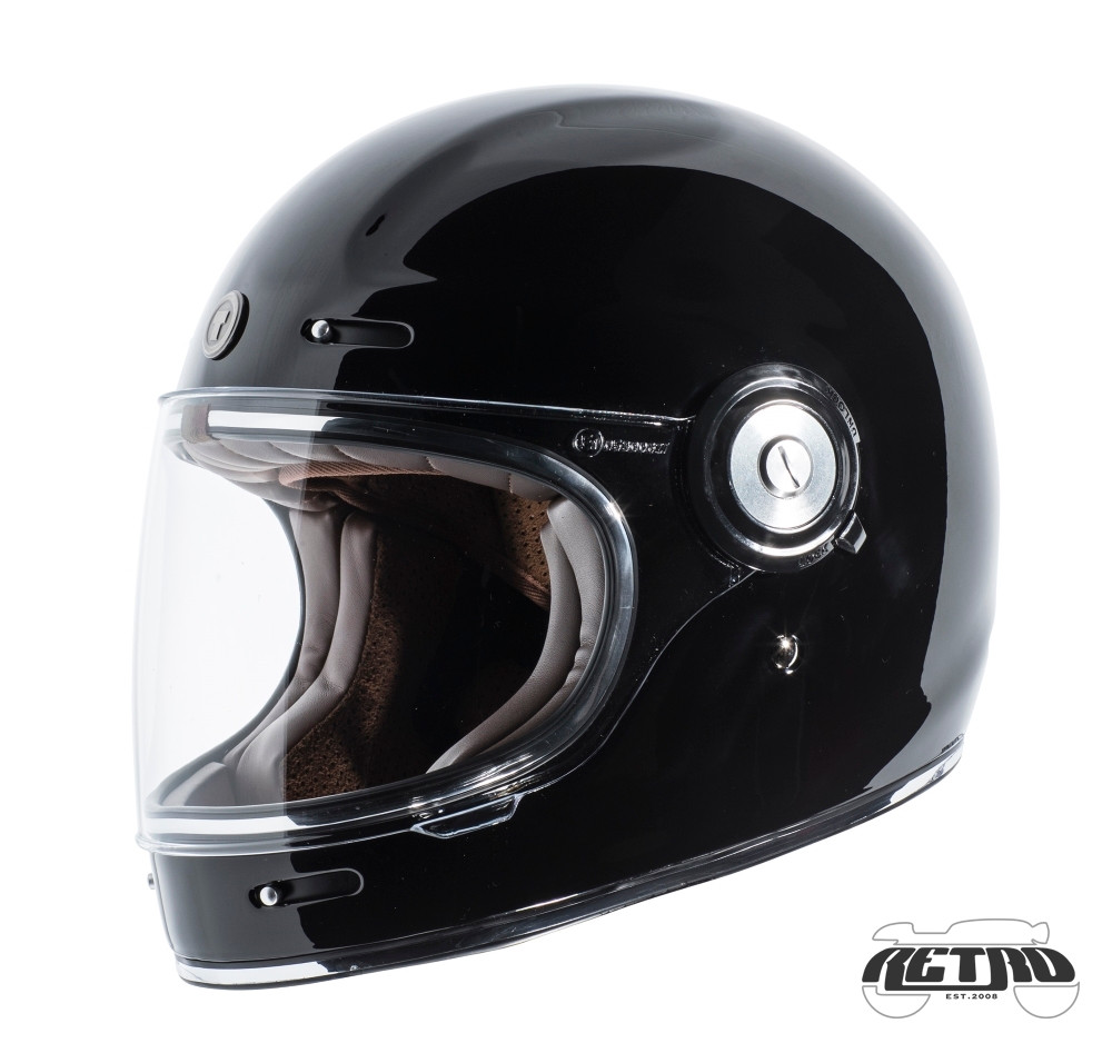 Black Open Face Carbon Fiber Retro Helmet with Stripes
