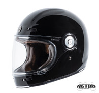 Torc T-1 Retro Full Face Moto Helmet in Gloss Black - Left Side
