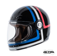 Torc T-1 Retro Full Face Moto Helmet in Americana Tron Finish - Left Side