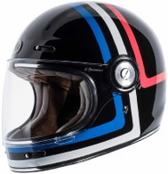 Torc T-1 Retro Full Face Moto Helmet in Americana Tron Finish