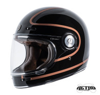 Torc T-1 Retro Full Face Moto Helmet in Copper Pin Finish - Left Side