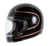 Torc T-1 Retro Full Face Moto Helmet in Copper Pin Finish - Left Side #2