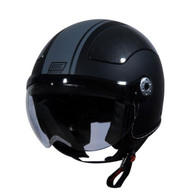 Origine Pilota Jet-Style 3/4 Motorcycle Helmet in Flat Black/Grey Stripe