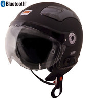 Origine Pilota Jet-Style 3/4 Motorcyle Helmet with Blinc Bluetooth in Flat Black