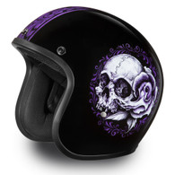 "Daytona Cruiser 3/4 Open Face D.O.T. Helmet in Flat Black with ""Floral Skull"" Artwork - Overview"