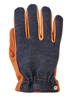 Grifter Rangers Leather and Denim Riding Gloves - Top