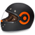 Daytona Retro Full Face DOT Helmet in Flat Black/Orange - Overview
