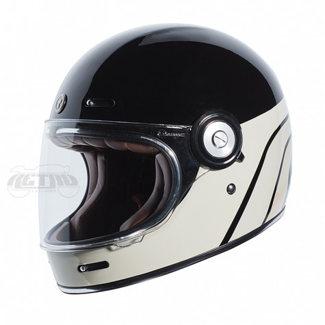 Torc T-1 Retro Full Face Moto Helmet in Dreamliner Tan Finish - Left Side