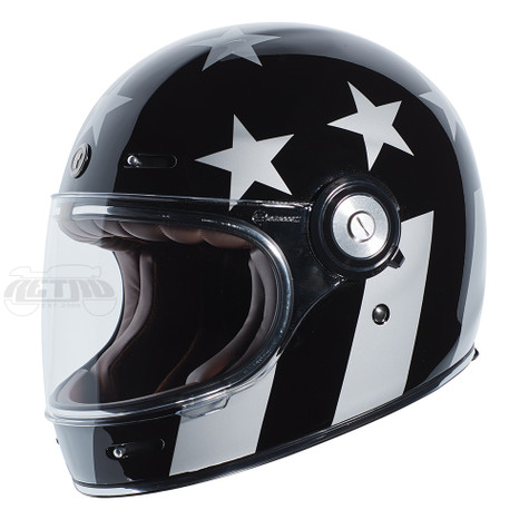 Torc T-1 Retro Full Face Moto Helmet in Captain Vegas Finish - Left Side