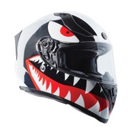Torc T-15 DOT-Approved Full Face Motorcycle Helmet in Chrome Flying Tiger