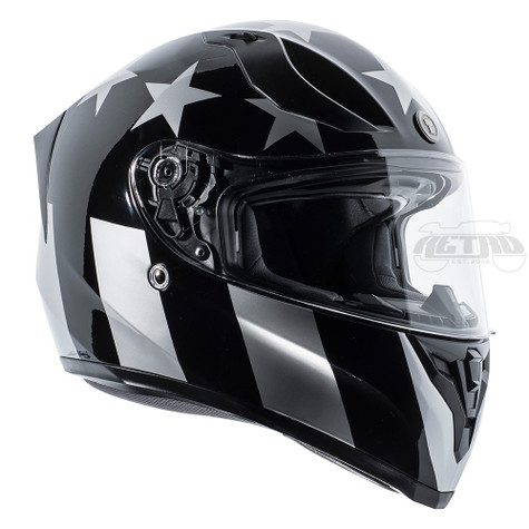 Torc T-15 DOT-Approved Full Face Motorcycle Helmet in Captain Shadow Gloss Finish - Right Side