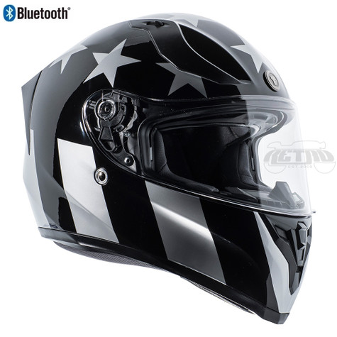 Torc T-15 DOT-Approved Full Face Motorcycle Helmet w/Blinc in Captain Shadow Gloss Finish - Right Side