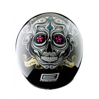 Origine Jet 3/4 DOT Open Face Motorcycle Helmet in Calavera design with Día de Muertos artwork - Top