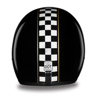 Daytona Cruiser 3/4 DOT-approved helmet with Cafe Racer Checkered Flag Design - Back