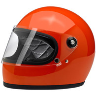 Biltwell Gringo-S Full Face Moto Helmet in Gloss Hazard Orange - Front, Visor Down