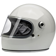 Biltwell Gringo-S Full Face Moto Helmet in Gloss White - Front, Visor Down