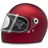 Biltwell Gringo-S Full Face Moto Helmet in Flat Red - Front, Visor Down