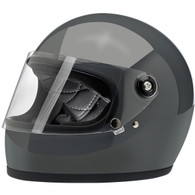 Biltwell Gringo-S Full Face Moto Helmet in Gloss Storm Grey - Front, Visor Down