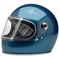Biltwell Gringo-S Full Face Moto Helmet in Pacific Blue - Front, Visor Down