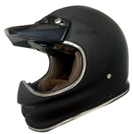 Torc T-3 Retro MX Full Face Motocross Helmet in Flat Black - With Visor