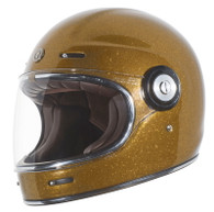 Torc T-1 Retro Full Face Moto Helmet in Gold Metallic Finish