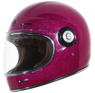 Torc T-1 Retro Full Face Moto Helmet in Bubblegum Metal-Flake Finish