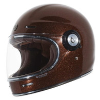 Torc T-1 Retro Full Face Moto Helmet in Rootbeer Metal-Flake Finish