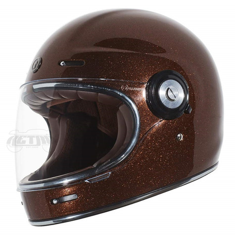 Torc T-1 Retro Full Face Moto Helmet in Rootbeer Metal-Flake Finish - Left Side
