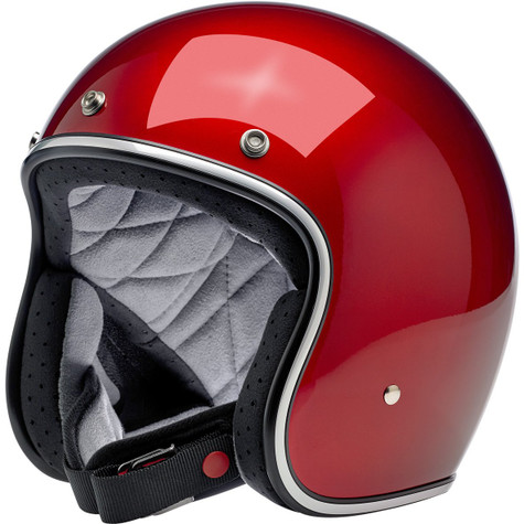 Biltwell Bonanza Motorcycle Helmet in Metallic Candy Red - Front Left