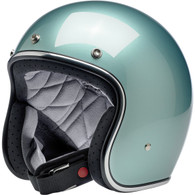 Biltwell Bonanza Motorcycle Helmet in Metallic Sea Foam Green - Front Left